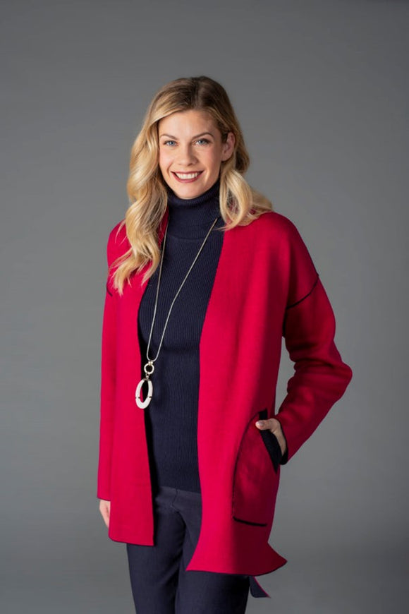SPANNER Red and Black Reversible Cardigan