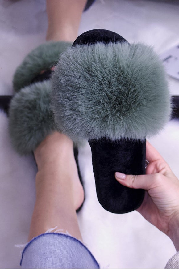 Faux Fur Slide Slippers Khaki