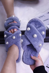 Faux Fur Crossover Slide Slippers Grey