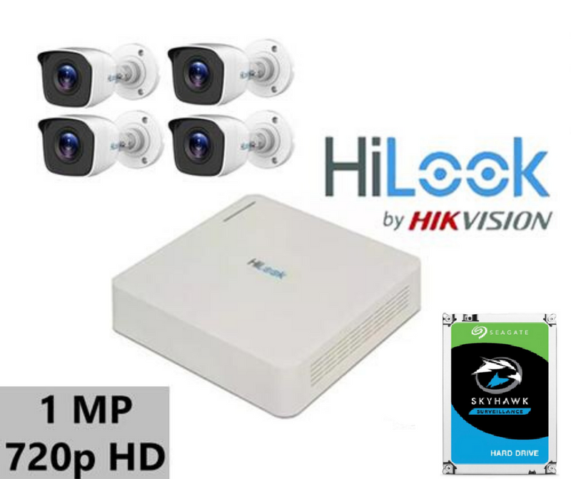 4CH HiLook Turbo 1MP DIY Kit with 1 TB HDD