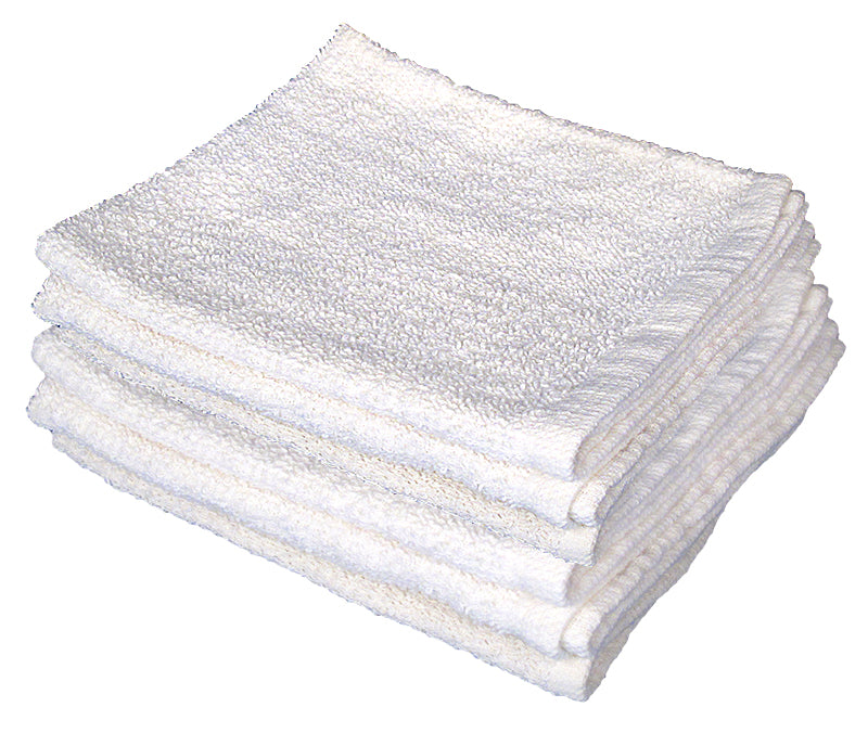 Terry Cotton White Towel 12pc/Pack    12x12 / 16x27
