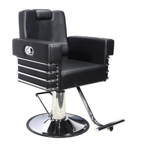 All Purpose Salon Chair, Hydraulic Adjustable Height, Reclinable Back Support