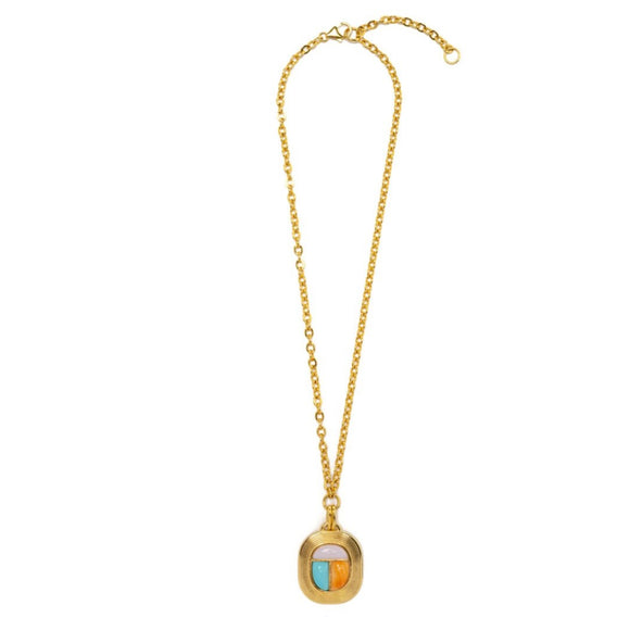 Lizzie Fortunato - Midsummer Scarab Necklace in Gold