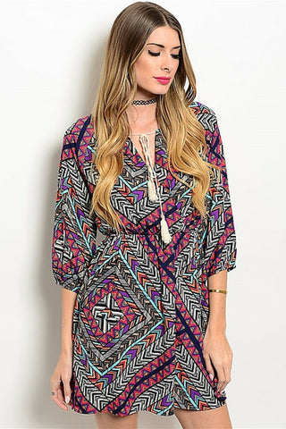 Bright Tiki Tribal Gypsy Dress - Leather and Sequins - 1