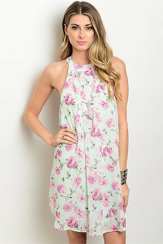 Mint Pink Rose Floral Dress - Leather and Sequins - 1