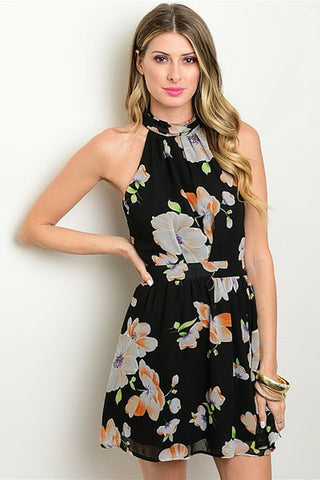 Charming Black Floral Dress - Leather and Sequins - 1