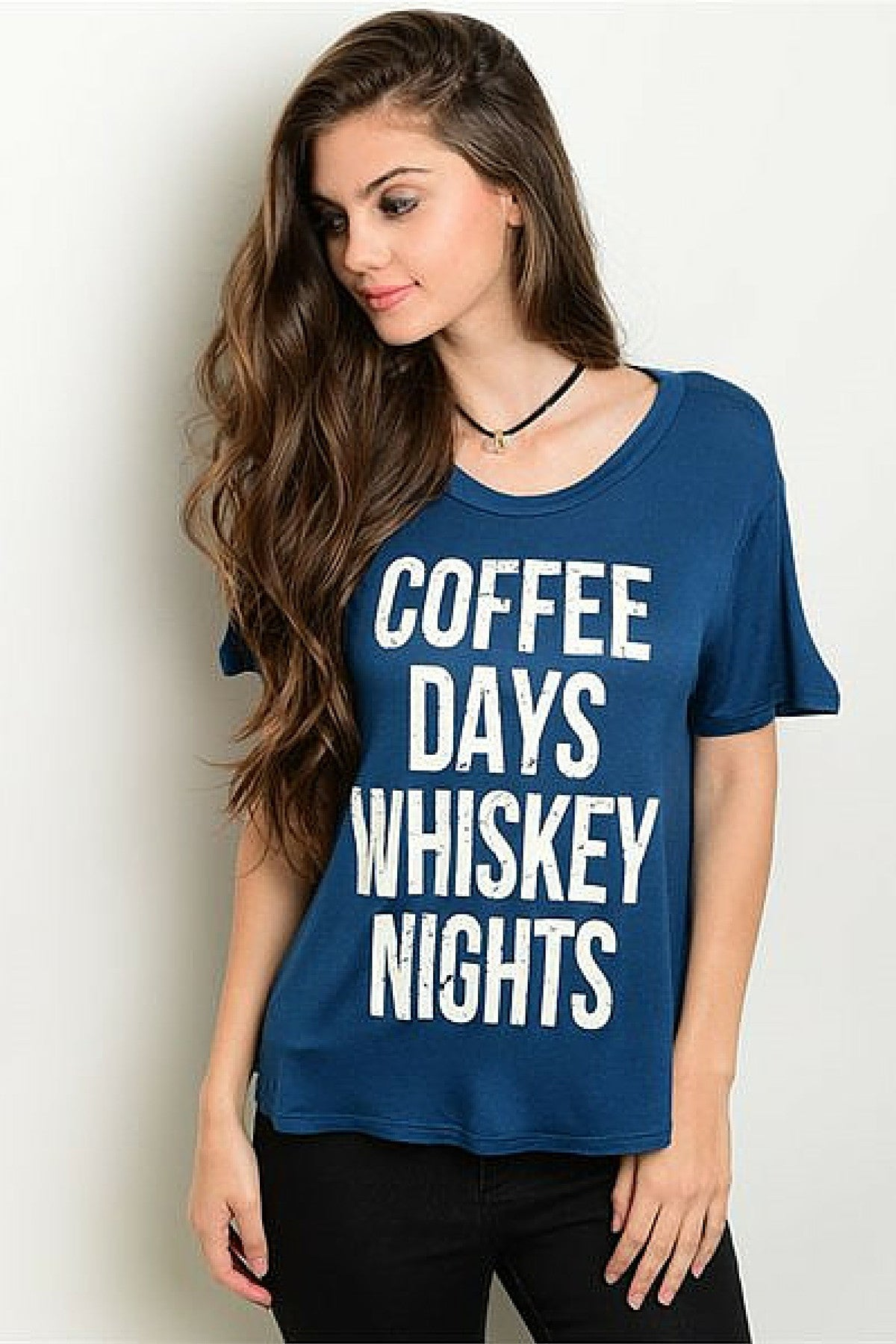 Whiskey Coffee Tee - Leather and Sequins - 2