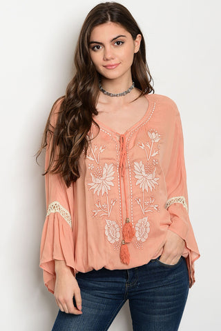 Sweet Salmon Peasant Blouse