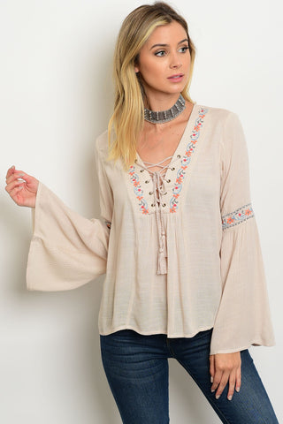 Breezy Lace Up Blouse