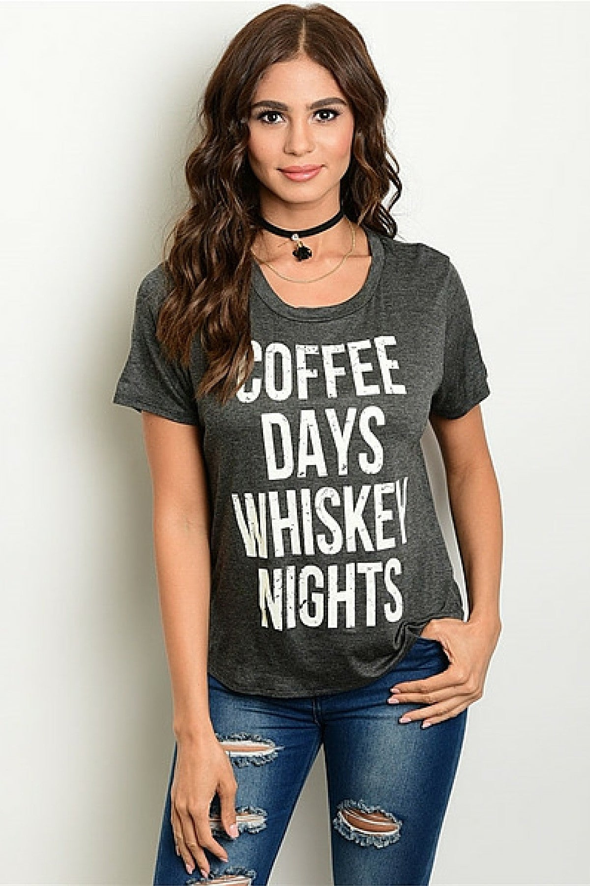 Whiskey Coffee Tee - Leather and Sequins - 1