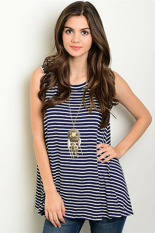 Navy Stripe Sleeveless Babydoll Top - Leather and Sequins - 1