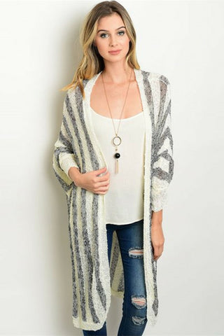Longline Stripe Cardigan - Leather and Sequins - 1