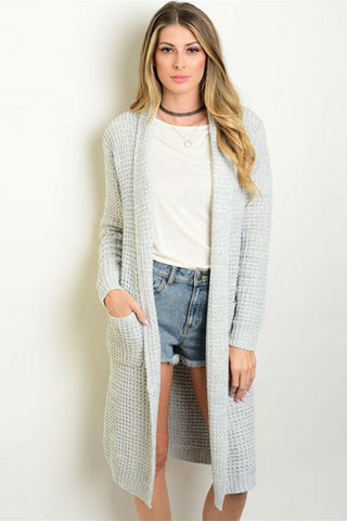 Storm Grey Pocket Cardigan - Leather and Sequins - 1