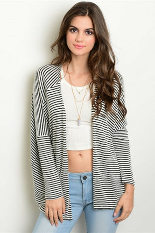 Thin Stripe Kimono Cardigan - Leather and Sequins - 1