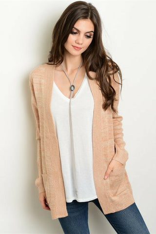 Caramel Blush Knit Cardigan - Leather and Sequins - 1