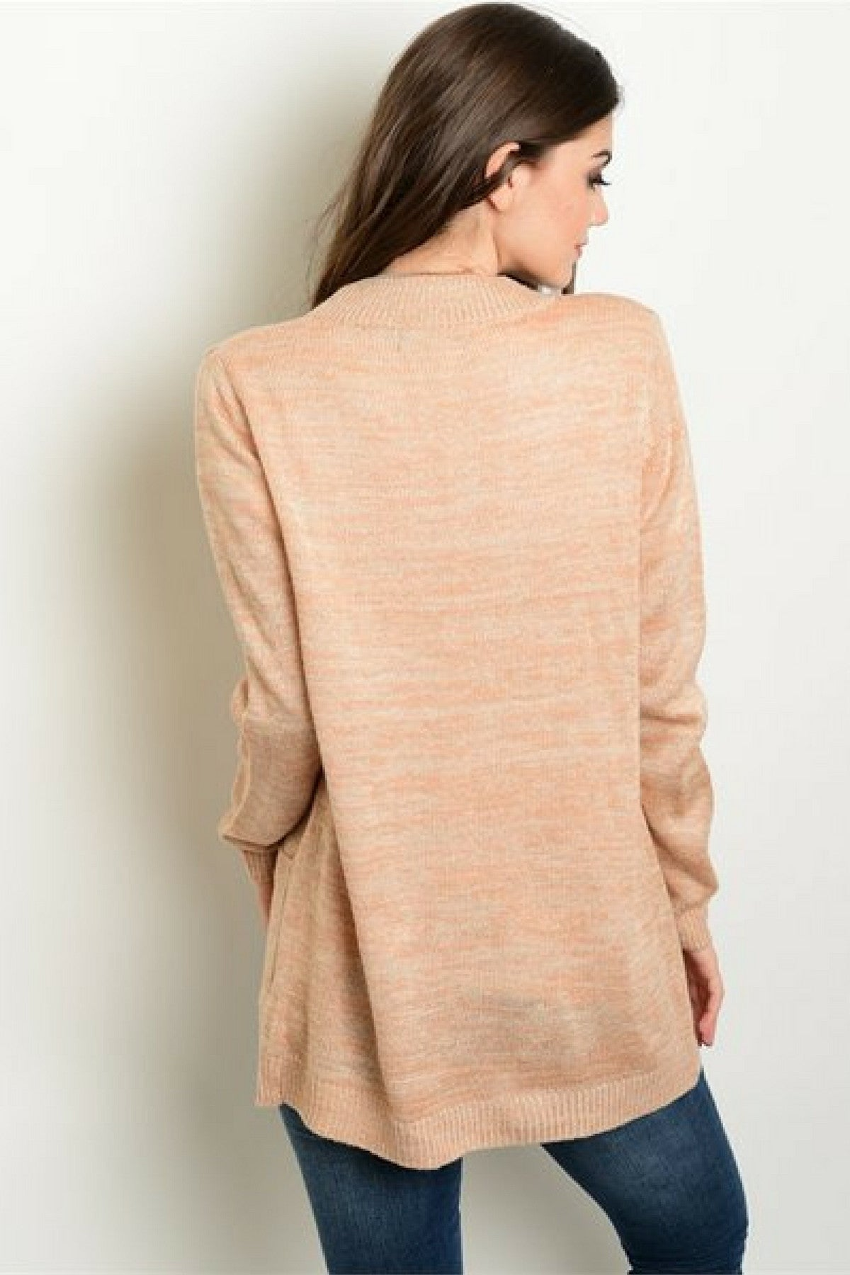 Caramel Blush Knit Cardigan - Leather and Sequins - 2