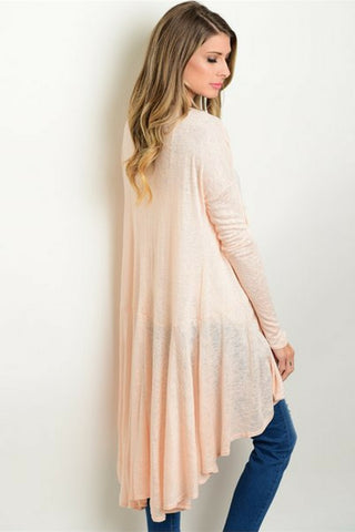 Sunrise Peach Drape Sweater - Leather and Sequins - 1