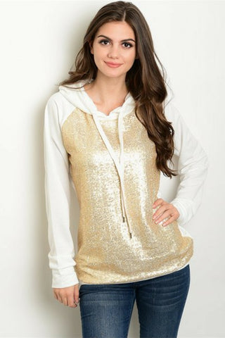 Gold Shimmer Hooded Sweater - Leather and Sequins - 1