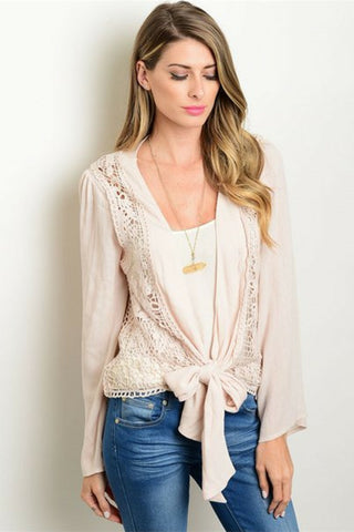 Pink Sugar Crochet Cardigan - Leather and Sequins - 1