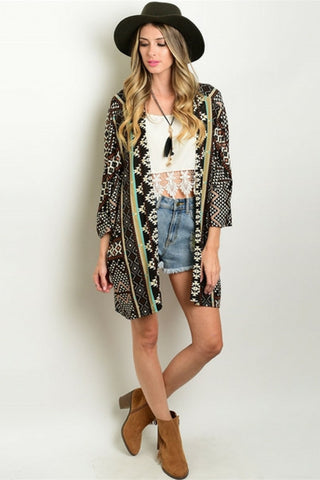Indian Tribe Kimono Cardigan / Green - Leather and Sequins - 1