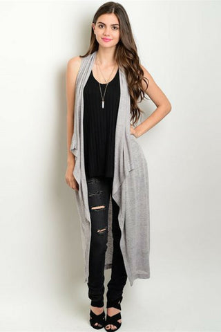 Grey Kimono Waterfall Duster - Leather and Sequins - 1