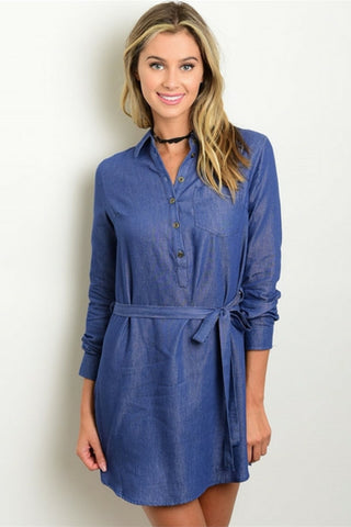 Denim Chambray Tie Dress - Leather and Sequins - 1