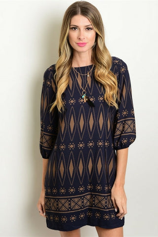 Navy Canyon Print Tunic Dress - Leather and Sequins - 1