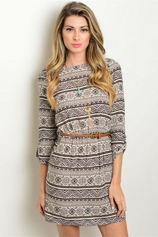 Grey Warrior Tribal Dress - Leather and Sequins - 1