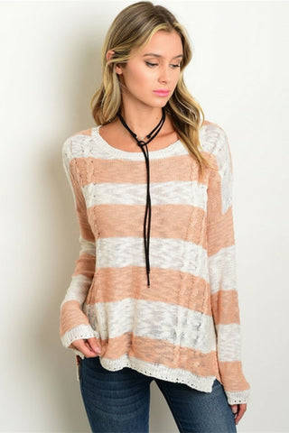 Peachy Boyfriend Knit Top - Leather and Sequins - 1