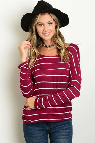 Cherry Wine Striped Top - Leather and Sequins - 1