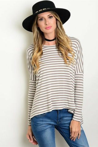 Cool Mocha Striped Top - Leather and Sequins - 1
