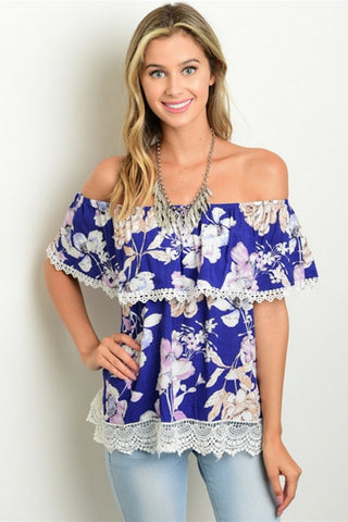 Blue Lagoon Floral Blouse - Leather and Sequins - 1