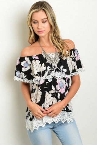 Black Lagoon Floral Blouse - Leather and Sequins - 1