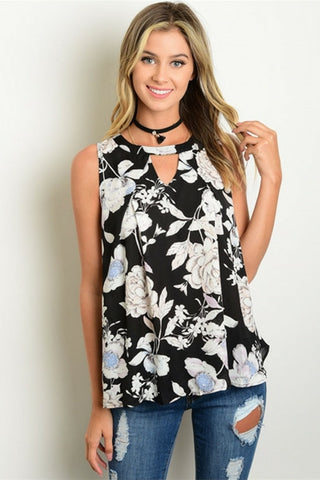 Onyx Floral Trapeze Tank - Leather and Sequins - 1