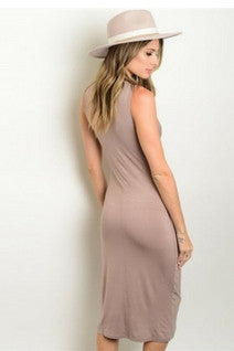 Tie the Knot Nude Midi Dress - Leather and Sequins - 2