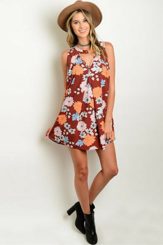 Rust Flower Tunic Dress - Leather and Sequins - 1