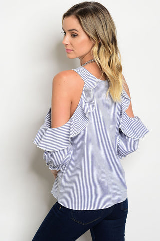 Ruffle Stripe Cold Shoulder Blouse