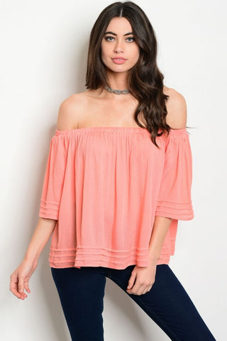 Coral Peach Off Shoulder Blouse