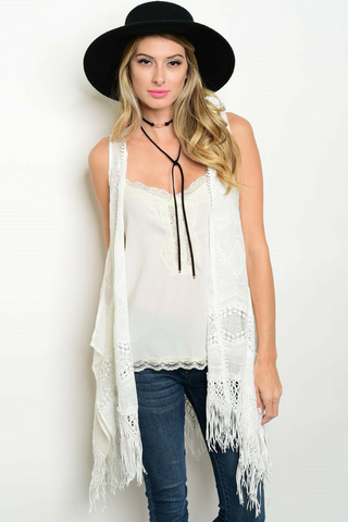 Lace Fringe Duster Vest - Leather and Sequins - 1