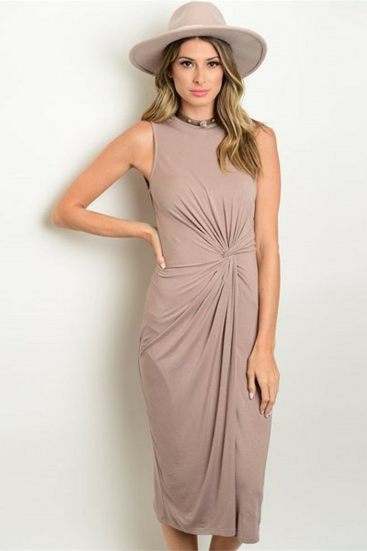 Tie the Knot Nude Midi Dress - Leather and Sequins - 1