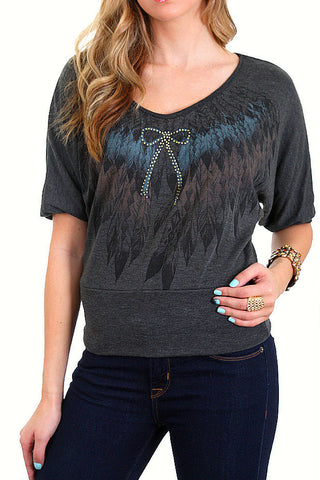 Dream Catcher Feather Top - Leather and Sequins