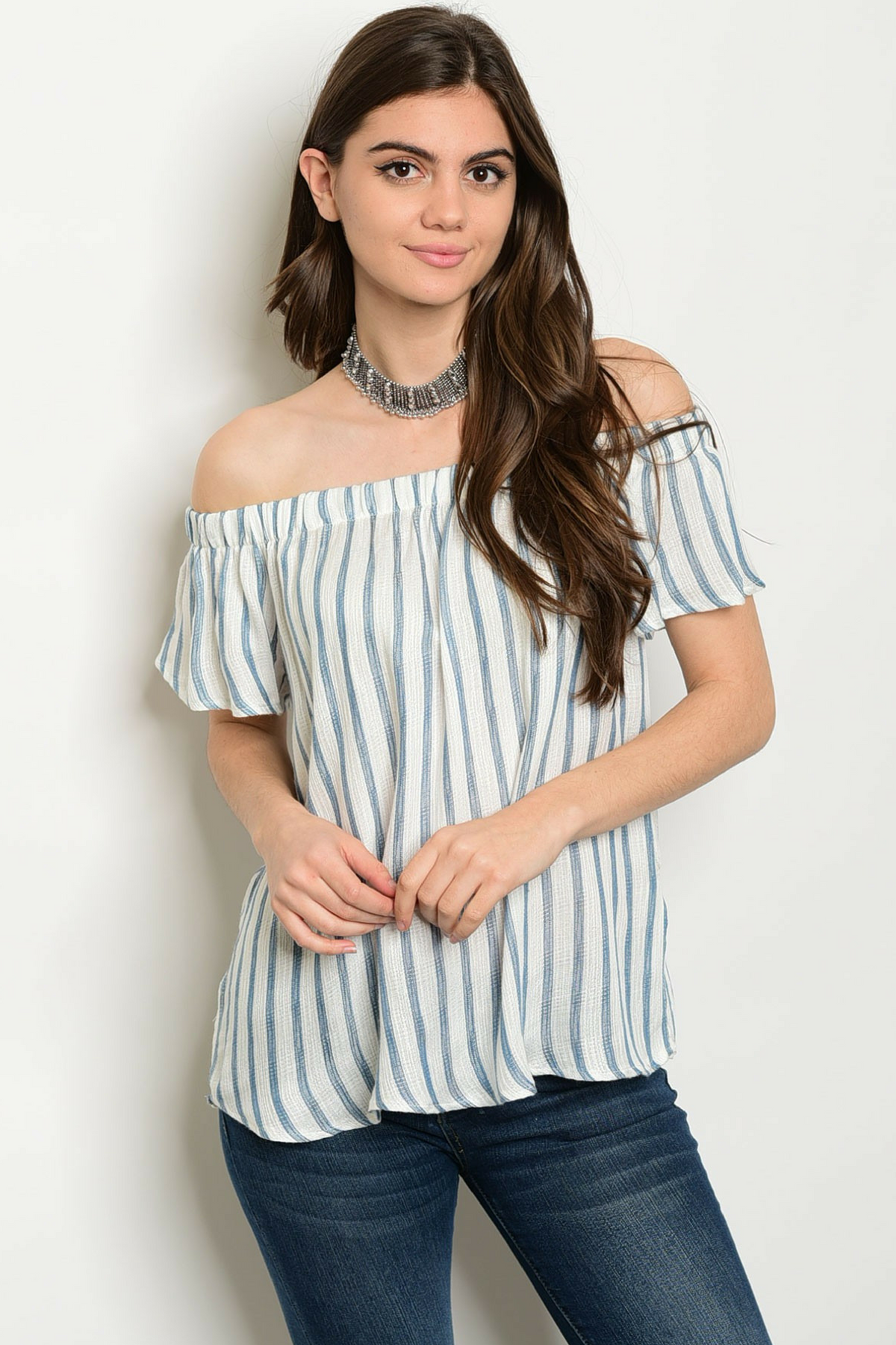 Pinstripe Off the Shoulder Blouse