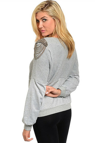 Grey Metallic Chain Sweater - Leather and Sequins - 1