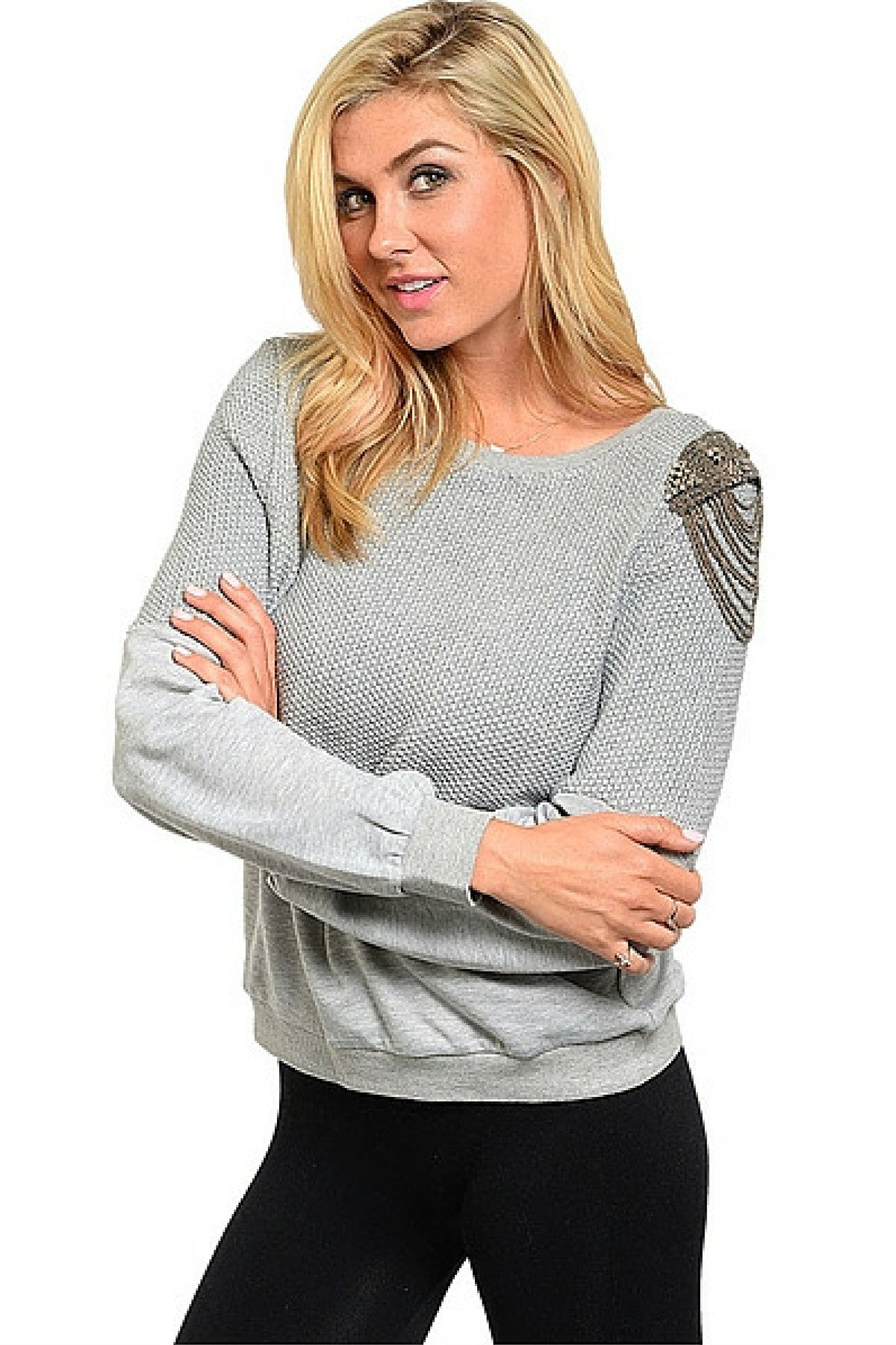 Grey Metallic Chain Sweater - Leather and Sequins - 2