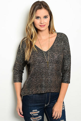Blackened Bronze Metallic Knit Sweater - Leather and Sequins - 1
