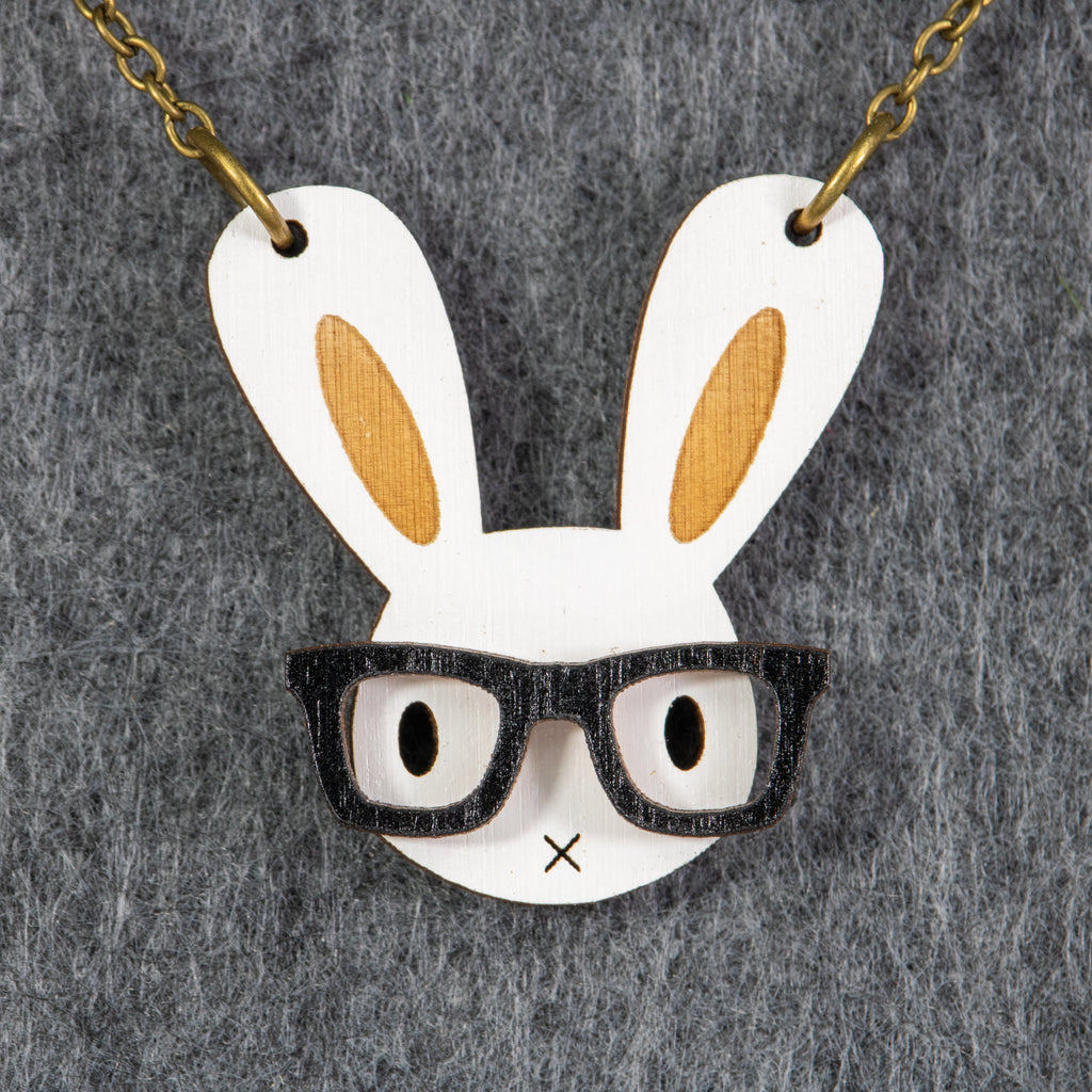 Bunny Nerd Necklace - BinkyBunny.com House Rabbit Store
