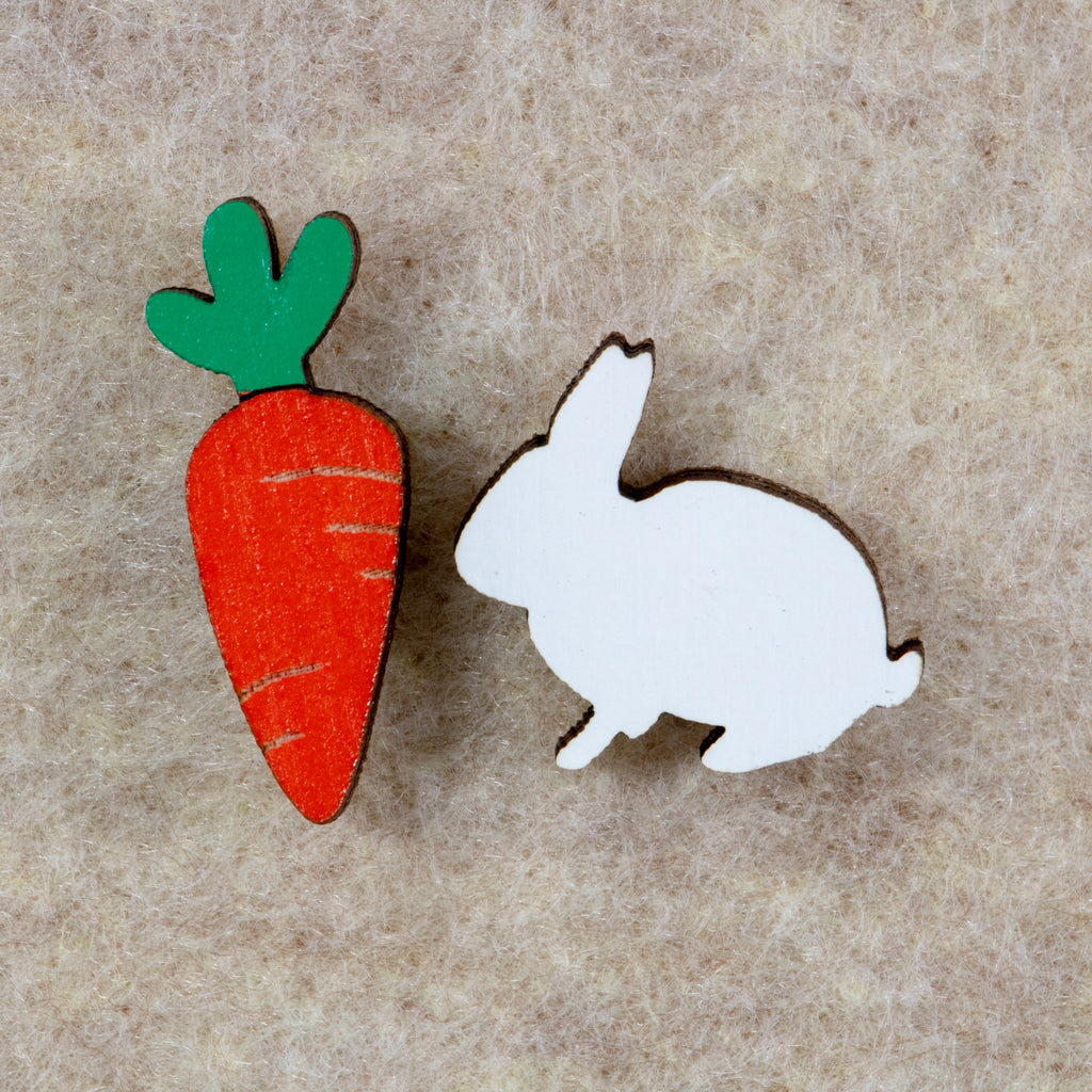 Bunny and Carrot Earrings - BinkyBunny.com House Rabbit Store