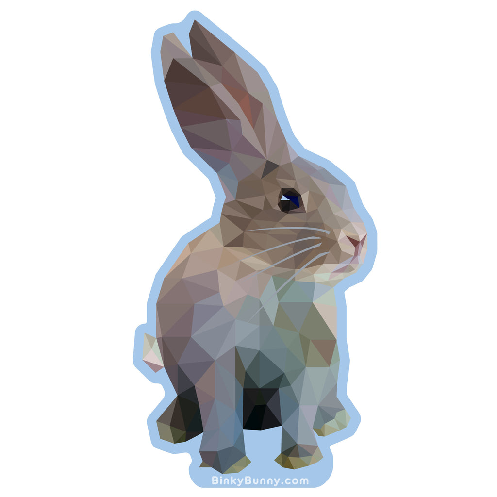 """Faceted Bunny"" Sticker - BinkyBunny.com House Rabbit Store"