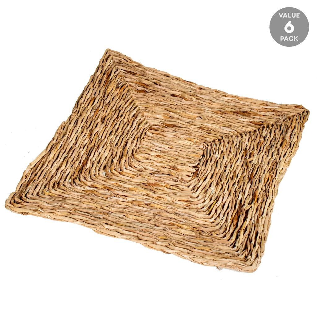 "Sea Grass SQUARE MAT - 6 PACK (Thick) [12"" x 12""  x 1/2""] - BinkyBunny.com House Rabbit Store"