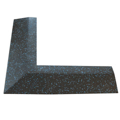 Body Power 30mm Floor Tile Corner (x1) (550mm length x 150mm Wide) - Black with Blue Speckle - GymCrib